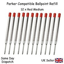 PARKER COMPATIBLE BALL POINT PEN REFILL INK - MEDIUM RED X12