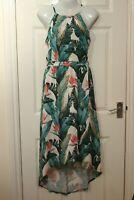 Ex Envy Peacock Ladies Womens Summer Print Dress Beach Green High Low Tropical