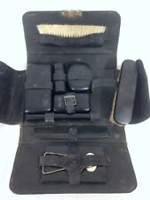 Vintage Vanity Toiletry Travel set with 1912 GEM Razor and Leather Case #A31