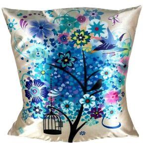 "Bird & Birdcage Blue Flower Printed Decorative Cushion Cover 50X50Cm (20 X20 "")"