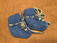 Booties Handmade Baby Crochet Lace blue 0-3 months shoes reborn doll shoes boy
