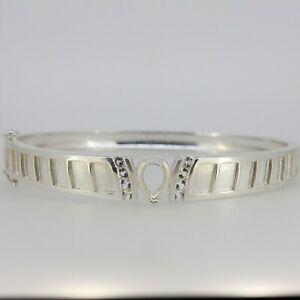 Sterling Silver Bangle Bracelet Semi Mount Setting Pear PS 9x6mm 2.5mm Enamel