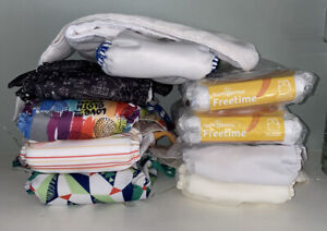 BumGenius Freetime AIO / Pocket Cloth Diapers New & Lightly Preloved Lot of9