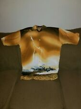 Delf USA Navy Themed Button Up Shirt Size XL 100% Polyester Made in Korea