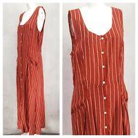 NEW Max Studio L Striped Button front Maxi Dress NWT $138 Missing belt Casual