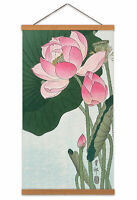 Ohara Koson Blooming Lotus Flowers Canvas Wall Art Print Poster with Hanger