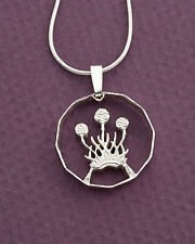 "Silver Scottish Thistle Pendant, Great Britain Coin Jewelry ,  1""  ( # 136S )"