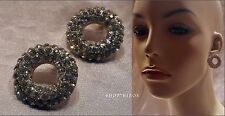 NEW CLEAR PAVE CRYSTAL RHINESTONE CIRCULAR RING GOLD STUD EARRINGS