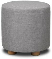 Mason Taylor Artiss Fabric Round Ottoman - Light Grey