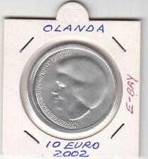 OLANDA  10 EURO 2002 ARGENTO FDC SILVER MATRIMONIO WILLEM ALEXANDER FDC