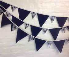 Navy & white bunting 10 mt. alternated small gingham flags wedding, baby showers