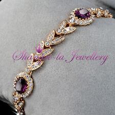 18K GOLD GF Dark Purple Wedding Party BRACELET with Swarovski CRYSTAL L351-P