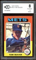1975 Topps #370 Tom Seaver Card BGS BCCG 8 Excellent+