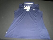Nwt Puma Golf Women's Sleeveless Polo Top size S Navy Blue ~ 8835