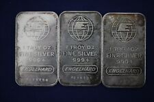 Engelhard 1 oz .999 Fine Silver Bars - Lot of 3