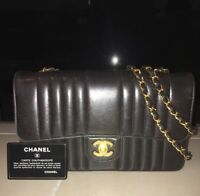 Black Vintage CHANEL 2.55 Single Flap Vertical Quilted Handbag With Auth Sticker
