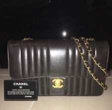 69ce4b2d430b Black Vintage CHANEL 2.55 Single Flap Vertical Quilted Handbag With Auth  Sticker