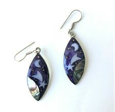 Alpaca Silver Drop Earrings - Mother Of Pearl Celestial Design - Purple