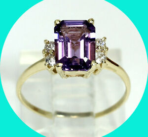 1.40CT amethyst birthstone ring 14K YG cubic zirconia emerald cut sz 5.25