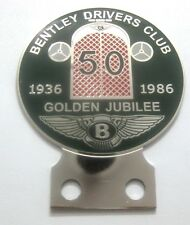 CAR BADGE -1BENTELY DRIVERS CLUB 50YEARS GOLDEN JUBILLE 1936-1986 CAR GRILL