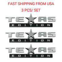 3X TEXAS EDITION EMBLEM DECAL Sticker TRUCK UNIVERSAL CHEVY SILVERADO SIERRA BLK