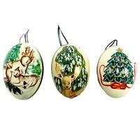 Vintage Hand Painted Real Egg Christmas Ornaments Deer Pine Tree Greens Browns