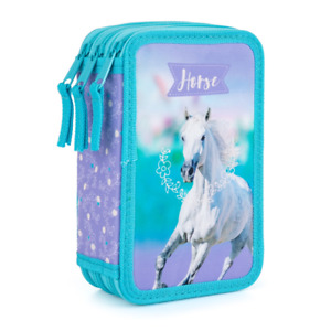 Pferde Horse Federtasche Mäppchen Federmäppchen Schüleretui, gefüllt 3-Fach blau