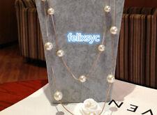 Elegant white black clover Flower Pearl star Long Necklace Womens Jewellery Gift