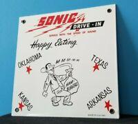VINTAGE SONIC PORCELAIN FAST FOOD BEVERAGE HAMBURGERS RESTAURANT DRIVE-IN SIGN
