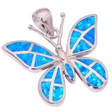 """Blue Fire Opal Women Jewelry Cute Butterfly Gemstone Silver Pendant 1"""" OD4435"""