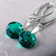 925 Sterling Silver Earrings *Classic Cut* Emerald Crystals from Swarovski®