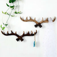 Retro Antlers Resin Wall Hanging Decorative Hooks Storage Rack Key Hat Hanger