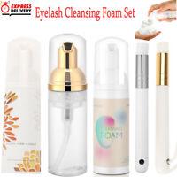 60ml Eyelash Extensions Lash Shampoo Cleansing Foam Cleanser Bubble + Brush Set