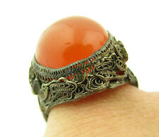 Antique Chinese Export Silver Filigree Carnelian Cabochon Adjustable Ring