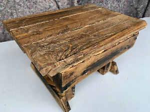 Small chunky handmade wooden low stool NSE030721E