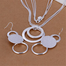 925 Solid silver women CHAIN Pretty wedding Earring necklace jewelry set gift