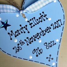 Personalised New Baby Wooden Heart Baby Boy or Girl Christening gift Ribbon
