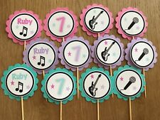 Disco Rockstar Personalised Cupcake Toppers ~ Dance Birthday Party, Baby Shower