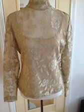 KAY CELINE Beige LACE Floral OVERLAY & TAN COLORED CAMI - SIZE M - BEAUTI L
