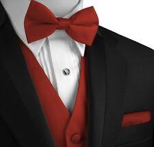 Men's Solid Satin Tuxedo Vest, Bow-Tie and Hankie Set. Formal Dress Wedding Prom