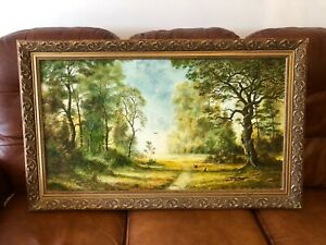 Original oil painting signed large woodland painting