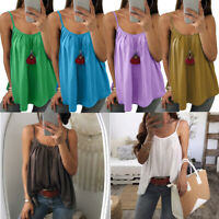 Plus Size Womens Vest Cami Chiffon T Shirt Sleeveless Blouse O Neck Summer Tops