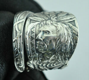 Beautiful 925 Sterling Silver Big Heavy Native Chief Warrior Spoon Ring