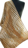 "Gold Pale Peach Hand-Dyed Shibori Silk Scarf 73"" x 21"" Chiffon Tie-Dye Bronze"