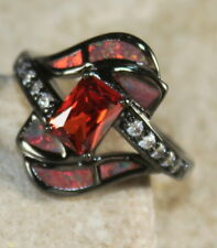 BLACK SILVER Elegant Orange Fire Opal & Orange Red Garnet Ring Size 9, WR40504
