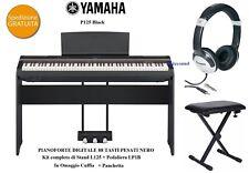 YAMAHA P125 BK PIANO PIANOFORTE 88 TASTI PESATI KIT STAND + PEDALIERA + CUFFIA
