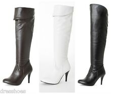 Womens High Heel Shoes Zip Synthetic Leather Over Knee Boots AU Size 3.5~13 O868