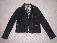 Authentic DOMA Leather Moto Jacket Size L Quilted Black