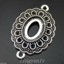 20pcs Antiqued Silver Eyes Shaped 33*22*4mm Cameo Setting Charms Pendants 50147