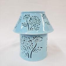 Candle Holder Fairy Lamp Sunflower Sky Blue Ceramic Lighting Home Decor